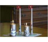 Lima Relief zimné sviečka metal svetlo hnedá kužeľ 22 x 250 mm 1 kus