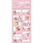Arch Vianočné etikety samolepky Medvedíky ružové arch 12 etikiet