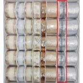 Ditipo Stuha látková s drôtikom 3 mx 25 mm strieborná káro