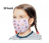 Rúška 3 vrstvová ochranná zdravotné netkaná jednorazová, nízky dýchací odpor pre deti 10 kusov ružová potlač labka