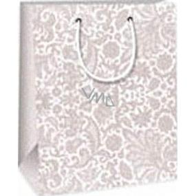 Ditipo Darčeková papierová taška 18 x 10 x 22,7 cm šedá krajkový vzor