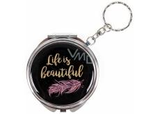Albi Zrkadielko - kľúčenka s textom Life is beautiful 6,5 cm