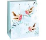 Ditipo Darčeková papierová taška 26,4 x 13,6 x 32,7 cm svetlomodrá vtáčiky