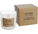 BISPOL Cut Roses - Rezané ruže vonná sviečka s dreveným knôtom sklo 300 g