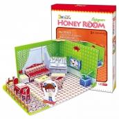 CubicFun Puzzle 3D Honey Room Izbička Obývačka 49 dielikov pre deti 22 x 11,5 x 17,5 cm