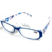 Okuliare diop.plast. + 1,5 sv.modré stranice s obdĺžniky MC2084