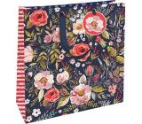 Nekupto Darčeková papierová taška 32,5 x 32,5 x 14 cm Kvetina tmavá 1847 L - LIL