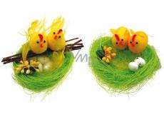 Hniezdo zelené s 2 kuriatkami 10 cm