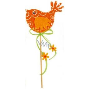 Vtáčik z filcu oranžový-biely dekor zápich 7 cm + špajle