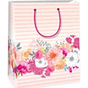 Ditipo Darčeková papierová taška 18 x 10 x 22,7 cm ružová pruhy kvety