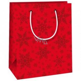 Ditipo Darčeková papierová taška 11,5 x 6,5 x 14,5 cm červená vločky E