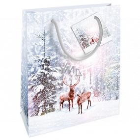 Nekupto Darčeková papierová taška 23 x 18 x 10 cm Vianočná biela s jeleňmi WBM 1928 02