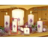 Lima Květina Levandule vonná svíčka světle fialová s obtiskem levandule válec 40 x 90 mm 1 kus
