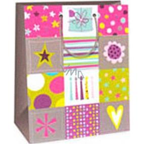 Ditipo Darčeková papierová taška 26,4 x 13,7 x 32,4 cm sviečky, srdiečko, hviezda, darček AB