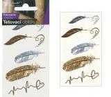 Tetovací obtisky zlaté a stříbrné pírka 10,5 x 6 cm