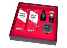 Hawkins & Brimble vyživujúci olej na fúzy a fúzy 50 ml + krém na holenie 100 ml + balzam po holení 125 ml + pleťový peeling 125 ml + štetku na holenie pre mužov kozmetická sada