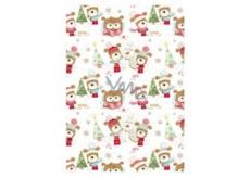 Ditipo Vianočný baliaci papier pre deti biely stromček a pes v čiapke 100 x 70 cm 2 kusy