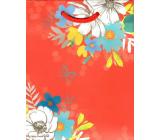 Ditipo Darčeková papierová taška malá červená bielo modré kvety 11,3 x 14,5 x 6,5 cm