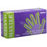 Maxter Rukavice hygienické jednorazové latexové hypoalergénne púdrované, veľkosť M, box 100 kusov