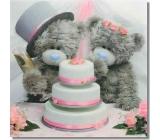 Me to You Blahoželania do obálky 3D Svadobné medvede s tortou 15,5 x 15,5 cm