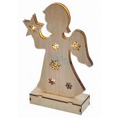 Emos Osvetlenie drevený anjel 23 cm, 6 LED, teplá biela