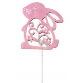 Zajac dževěný 8 cm ružový + drôtik