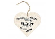 Bohemia Drevené srdce s potlačou 12cm - učiteľka podporuje ....