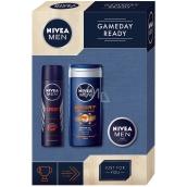 Nivea Men Gameday Sport sprchový gél pre mužov 250 ml + antiperspirant sprej pre mužov 150 ml + Creme krém 30 ml, kozmetická sada