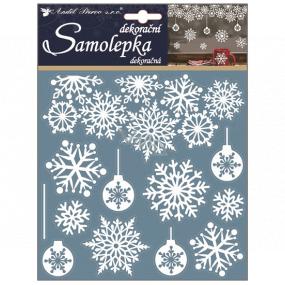 Samolepky vianočné biele s glitrami vločky a banky 23 x 18 cm