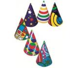 Klobúčiky rôznofarebný potlač, karnevalový 6 kusov