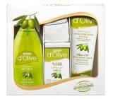 Dalan d Olive tekuté mydlo 400 ml + toaletné mydlo 150 g + zvláčňujúci krém 250 ml + žinka, kozmetická sada