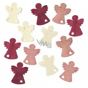 Anjel drevený vínovo-ružovo-béžový 4 cm 12 kusov
