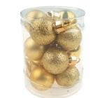 Baňky mini zlaté mix povrchů 2,5 cm ve válci 12 kusů