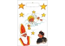 Anděl Igelitová taška malá Mikuláš, čert, anděl, mrak 32 x 20 x 8 cm