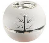 Svietnik sklenený bielo-strieborný 8 cm