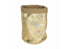 Albi Eko košík vyrobený z pratelného papiera, malý - zlatý, výška 14 cm
