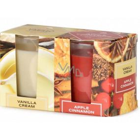 Emóciám Vanilla Cream & Apple Cinnamon - Vanilkový krém a jablčná škorice vonná sviečka sklo 52 x 65 mm 2 kusy v krabičke