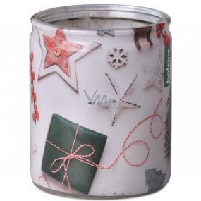 Bolsius Vianočné motívy vonná sviečka v skle 68 x 80 mm, doba horenia 23 hodín