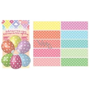 Smršťovací dekorace na vejce s puntíky 10 ks+10 stojánků