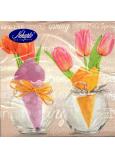 Nekupto Veľkonočné papierové obrúsky Tulipány vo vázičce, nápis Spring 3 vrstvové 33 x 33 cm 20 kusov