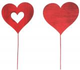 Srdce drevené červené zápich 8 cm + drôtik, 1 kus