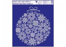 Fólie okenní bez lepidla s glitrem, obrázky z vloček baňka 33,5 x 30 cm