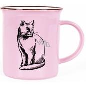 Albi Keramický plecháček Kočka růžový 320 ml