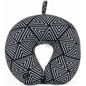 Albi Masážny cestovný vankúš Geometrický vzor čiernobiely 30 x 28 x 10 cm