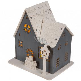 Ditipo Drevený domček s LED svetlom šedý 11 x 11 cm