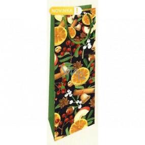 Nekupto Darčeková papierová taška na fľašu 33 x 10 x 9 cm Vianočný s pomarančom WLH 1968 50