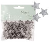 Hvězdičky s glitry 50 kusů stříbrné, 2 cm