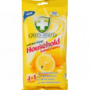 Green Shield Household Surface Wipes 4v1 pre domácnosť antibakteriálne čistiace vlhčené obrúsky 50 kusov