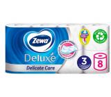 Zewa Deluxe Aqua Tube Delicate Care toaletný papier 3 vrstvový 150 útržkov 8 kusov, rolička, ktorú môžete spláchnuť