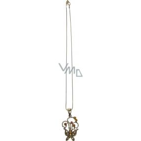 Bižutéria Náhrdelník bronzový s príveskom motýľ 40 cm